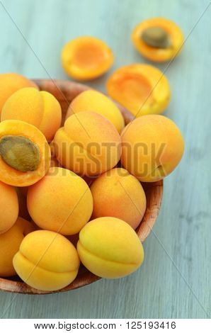 closeup of ripe, juicy and delicious apricots