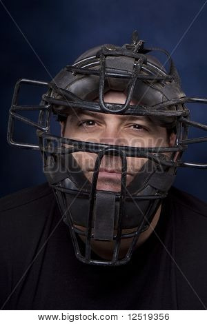 Man In A Catcher's Mask - Vertical