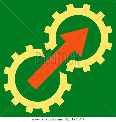 Gear Integration vector icon. Gear Integration icon symbol. Gear Integration icon image. Gear Integration icon picture. Gear Integration pictogram. Flat orange and yellow gear integration icon.