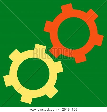 Gears vector icon. Gears icon symbol. Gears icon image. Gears icon picture. Gears pictogram. Flat orange and yellow gears icon. Isolated gears icon graphic. Gears icon illustration.