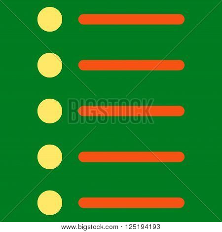 Items vector icon. Items icon symbol. Items icon image. Items icon picture. Items pictogram. Flat orange and yellow items icon. Isolated items icon graphic. Items icon illustration.