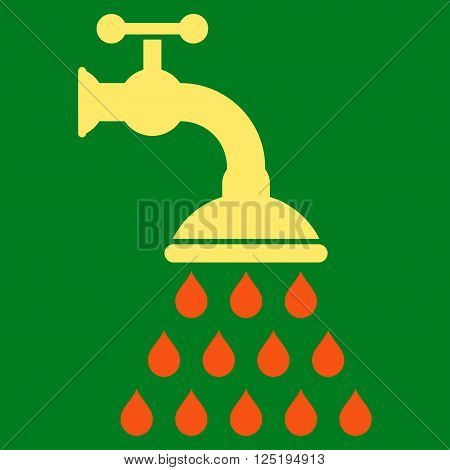 Shower Tap vector icon. Flat orange and yellow shower tap icon. Isolated shower tap icon graphic.