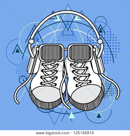 Foot Wear Sneakers Shoes Glasses Headphones Over Triangle Geometric Background Flat Vector Illustration