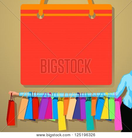 illustration of huge sale. woman hold a lot of bag on one hand
