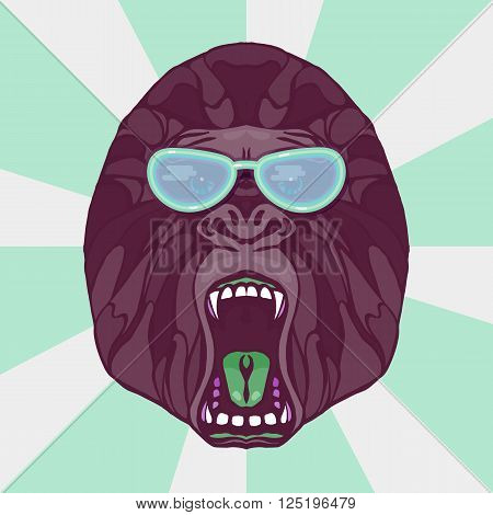 Growling detailed gorilla in cartoon style with glasses. Design for t-shirt poster bag. Vector