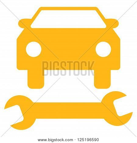 Car Repair vector icon. Car Repair icon symbol. Car Repair icon image. Car Repair icon picture. Car Repair pictogram. Flat yellow car repair icon. Isolated car repair icon graphic.