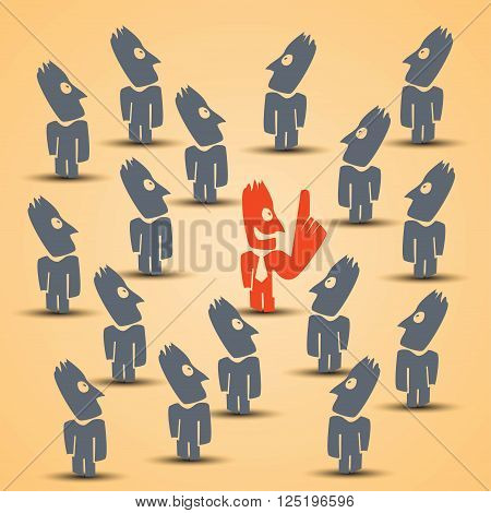cartoon illustration of bussines leader standing. choice in crowd of grey people