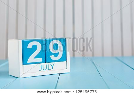 July 29th. Image of july 29 wooden color calendar on white background. Summer day. Empty space for text. System Administrator Appreciation Day.
