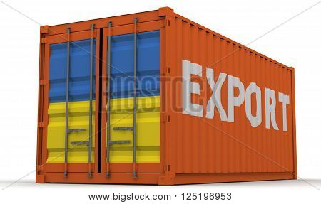 Export of Ukraine. Freight container on a white surface with inscription
