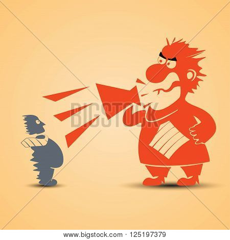 cartoon illustration of screaming boss at gis worker with megaphone. boss is red color and worker is grey color