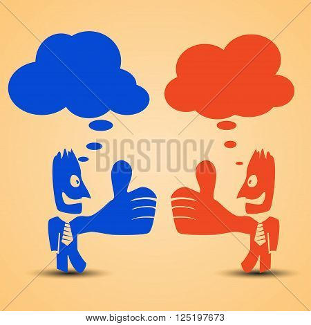 cartoon illustration of red men standing with thumb is up. businessmans are thinking. red and blue colors