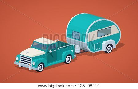 Turquoise retro pickup with motor home against the red background. 3D lowpoly isometric vector illustration