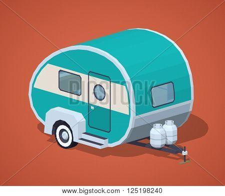 Turquoise retro motor home against the red background. 3D lowpoly isometric vector illustration