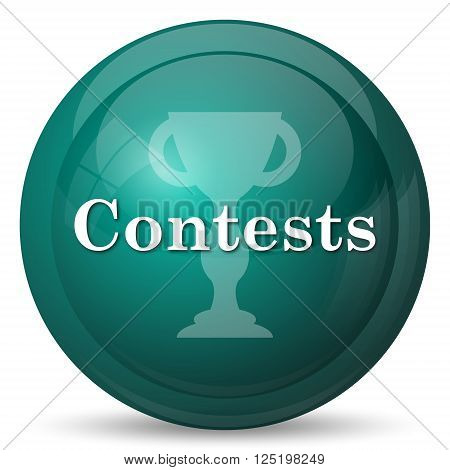 Contests icon. Cyan internet button on white background.