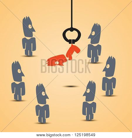 cartoon illustration of choosing man from crowd and hang him by clip