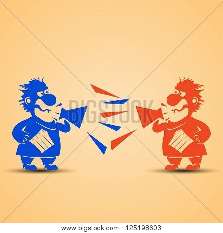 cartoon illustration of two bosses screaming on each other to megaphones. one of them is red and other is blue
