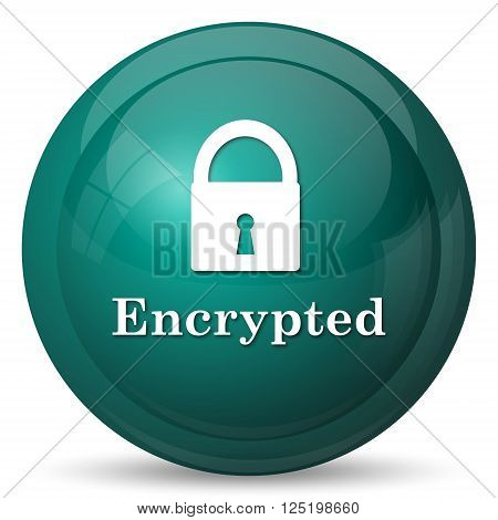 Encrypted icon. Cyan internet button on white background.