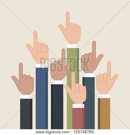Hands pointer symbol. Forefinger symbol. Vector illustrationeps 10.