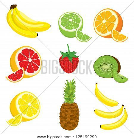 Vector set of multivitamin fruits: lemon, orange, lime, grapefruit, kiwi, banana, pineapple, strawberry on white background. Isolated.