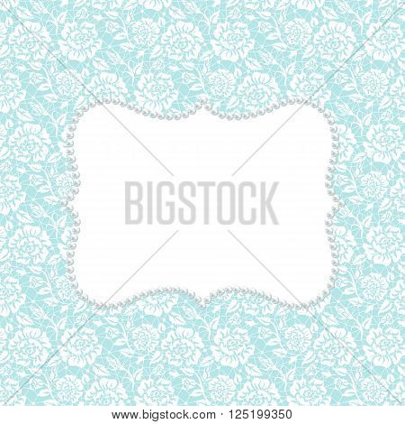 White lace with floral pattern and pearl frame on  turquoise background