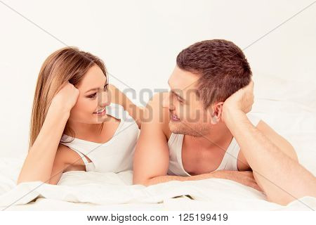 Close Up Portrait Of Man And Woman Looking Ardently On Each Other
