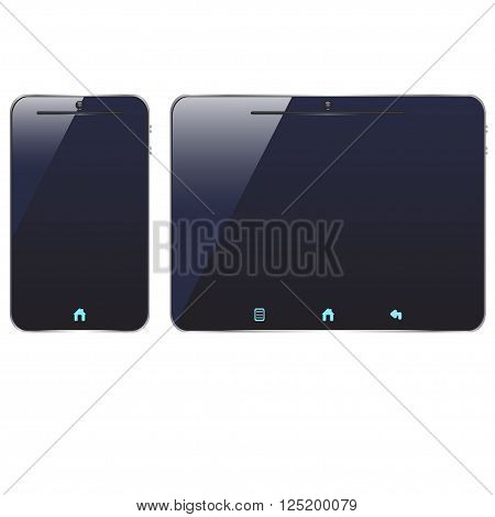 illustration of colored dark smart phone and tablet on white background
