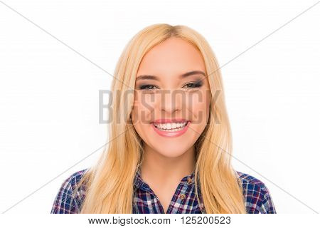 Close Up Portrait Of Pretty Toothy Girl With Beaming Smile