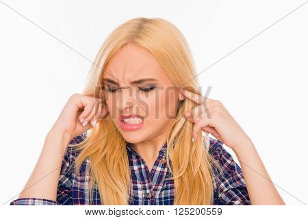 Young Pretty Woman Covering Her Ears Ignoring Noise