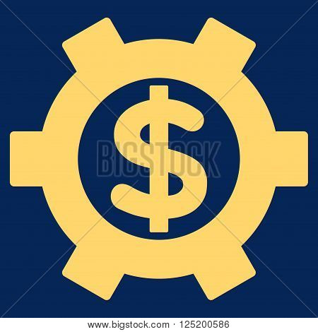 Financial Settings vector icon. Financial Settings icon symbol. Financial Settings icon image. Financial Settings icon picture. Financial Settings pictogram. Flat yellow financial settings icon.
