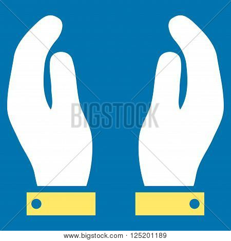 Care Hands vector icon. Care Hands icon symbol. Care Hands icon image. Care Hands icon picture. Care Hands pictogram. Flat yellow and white care hands icon. Isolated care hands icon graphic.