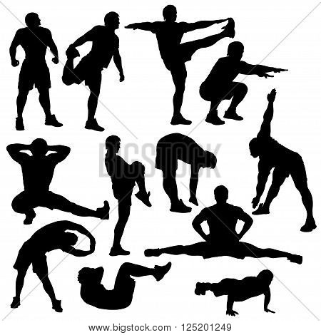 set of athletes in different poses silhouette isolated