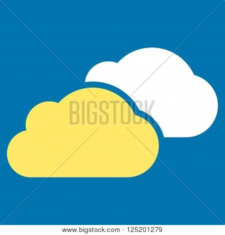 Clouds vector icon. Clouds icon symbol. Clouds icon image. Clouds icon picture. Clouds pictogram. Flat yellow and white clouds icon. Isolated clouds icon graphic. Clouds icon illustration.
