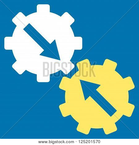Gear Integration vector icon. Gear Integration icon symbol. Gear Integration icon image. Gear Integration icon picture. Gear Integration pictogram. Flat yellow and white gear integration icon.