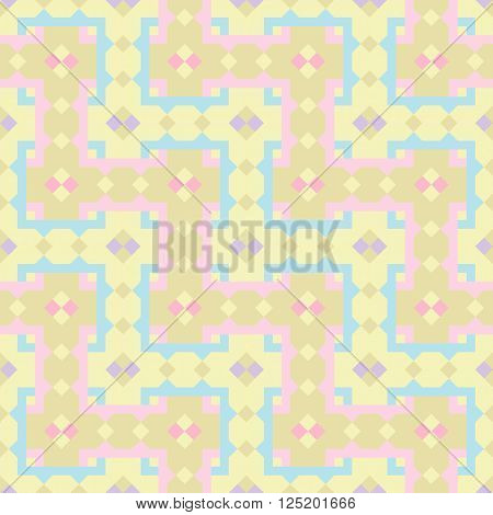 Geometric repeating pattern interwoven lattice. Vector. Seamless. Abstract colored background in children's beige pink and blue tones.
