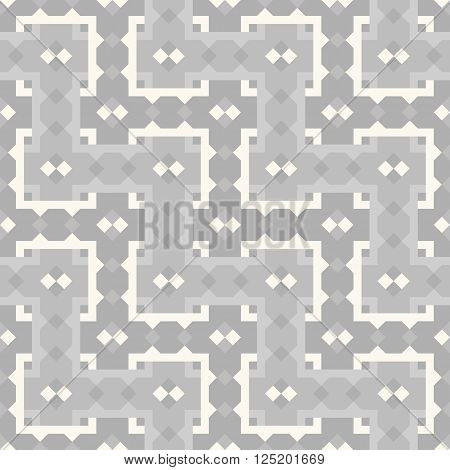 Geometric repeating pattern interwoven lattice. Vector. Abstract background in shades of gray. Seamless.