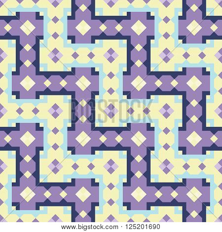 Geometric repeating pattern interwoven lattice. Vector. Abstract colored background in purple and yellow tones. Seamless.