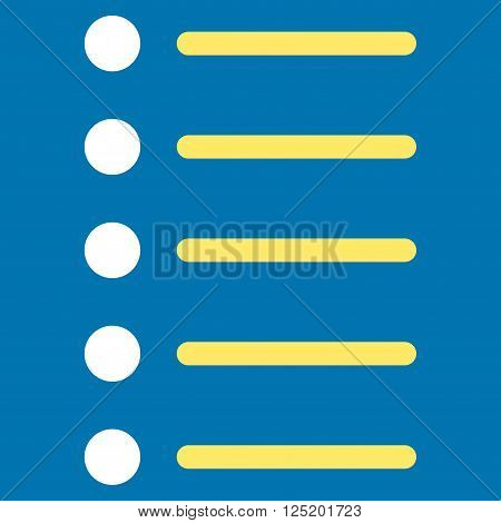Items vector icon. Items icon symbol. Items icon image. Items icon picture. Items pictogram. Flat yellow and white items icon. Isolated items icon graphic. Items icon illustration.