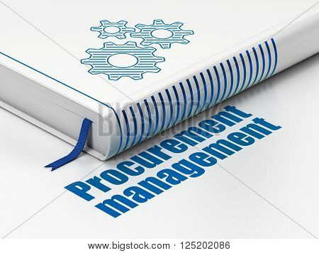 Finance concept: book Gears, Procurement Management on white background