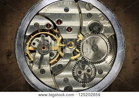 Russian Pocket watch inside with wheels and spring