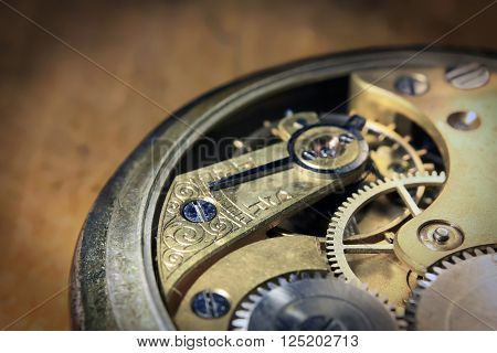 Pocket watch inside close up with wheels and spring