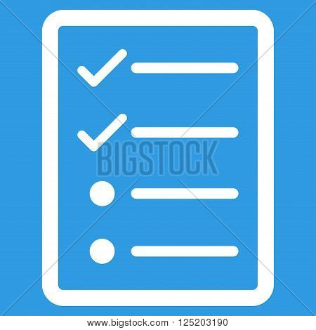 Checklist Page vector icon. Checklist Page icon symbol. Checklist Page icon image. Checklist Page icon picture. Checklist Page pictogram. Flat white checklist page icon.