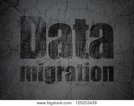 Information concept: Data Migration on grunge wall background