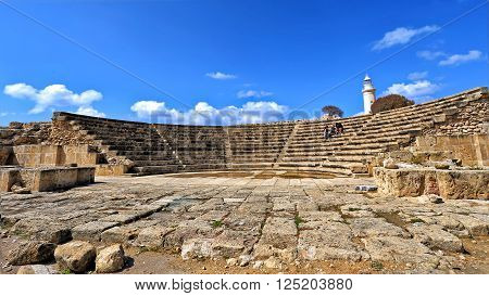 CYPRUS, PAPHOS - MARCH 16, 2016: Lighthouse and the ruins of the ancient city of Paphos, Cyprus
