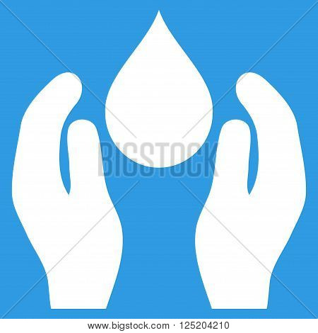 Water Care vector icon. Water Care icon symbol. Water Care icon image. Water Care icon picture. Water Care pictogram. Flat white water care icon. Isolated water care icon graphic.