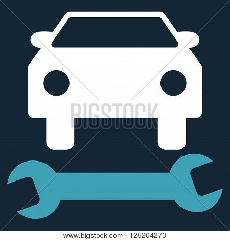 Car Repair vector icon. Car Repair icon symbol. Car Repair icon image. Car Repair icon picture. Car Repair pictogram. Flat blue and white car repair icon. Isolated car repair icon graphic.