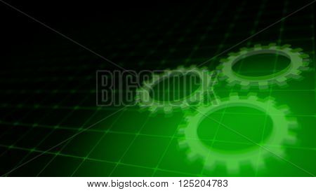 Concept of cooperation process with rotating neon gears - 3D render