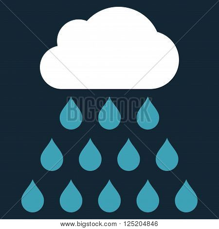 Rain Cloud vector icon. Rain Cloud icon symbol. Rain Cloud icon image. Rain Cloud icon picture. Rain Cloud pictogram. Flat blue and white rain cloud icon. Isolated rain cloud icon graphic.