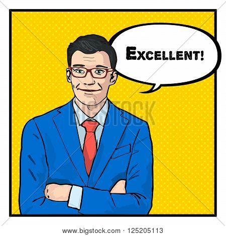 excellent businessman success concept retro style pop art vector