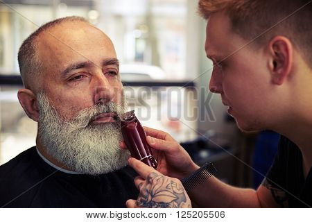 Close up of barber trimming clients beard in barber shop