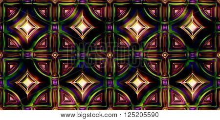 Seamless Texture stained glass window 3D illustration